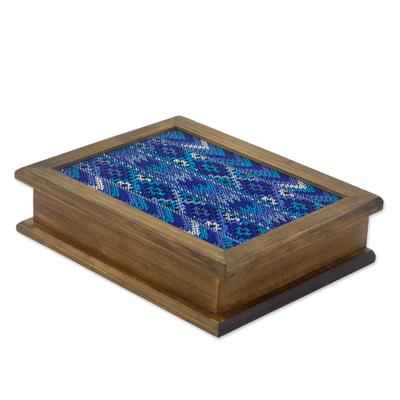 Wood and cotton tea box, 'San Martin Blue' - Alder Wood Tea Box with Blue Maya Handwoven Cotton Inset