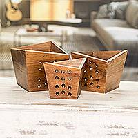 Wood nesting centerpieces, 'Star Shower' (set of 3) - Handcrafted Wood Geometric Nesting Centerpieces (Set of 3)