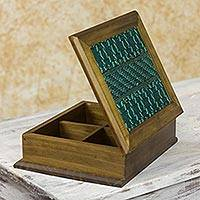 Wood and cotton tea box, 'San Martin Turquoise' - Maya Backstrap Weaving and Alder Wood Tea Box