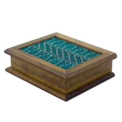 Wood and cotton tea box, 'San Martin Turquoise' - Maya Backstrap Weaving and Alder Wood Tea Box