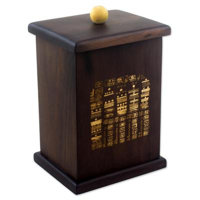 Hand Engraved Decorative Box with Maya Hieroglyphs