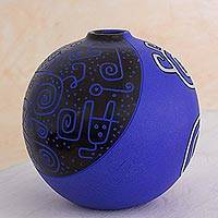 Ceramic decorative vase, 'Chorotega Celebration' - Blue Purple Artisan Crafted Decorative Ceramic Vase