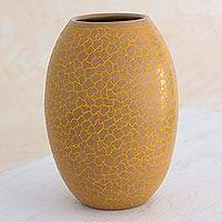Ceramic decorative vase, 'Matagalpa Dawn' - Ivory Color Ceramic Vase For Decorative Use Only