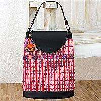 Cotton and leather accent handbag, 'Life in San Lucas' - Cotton and Leather Accent Handbag Hand Woven in Guatemala