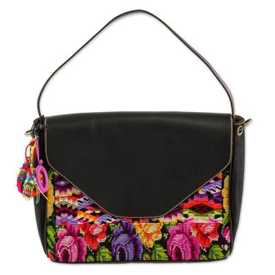 Novica Cotton and leather accent handbag, Chichicastenango Maya