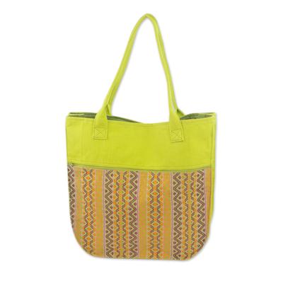 Novica Cotton tote handbag, Guatemala Warmth