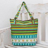 Cotton tote handbag, 'Joyous Colors' - Guatemalan Handwoven Turquoise Cotton Tote with Green Yellow