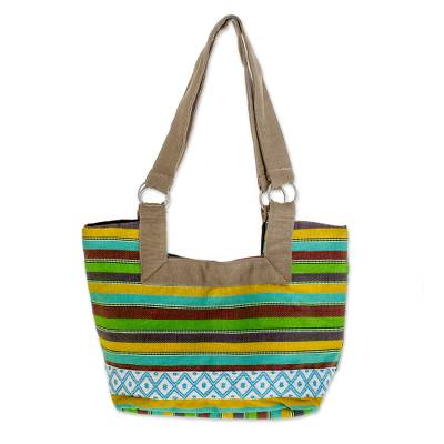 Novica Cotton tote handbag, Joyous Colors