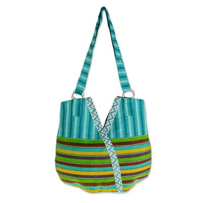 Cotton tote handbag, 'Colors in V' - Guatemalan Hand Woven Cotton Tote with Turquoise Trim