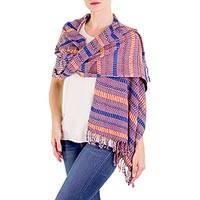 Cotton shawl, 'Atitlan Flower' - Backstrap Loom Woven Cotton Shawl in Blues and Reds