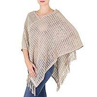 Cotton poncho, 'Jade Cream Lattice' - Handwoven Natural Cotton Poncho in Green and Ivory