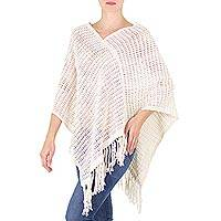 Cotton poncho, 'Cream Lattice' - Handloomed Open Weave Cream Color Cotton Poncho
