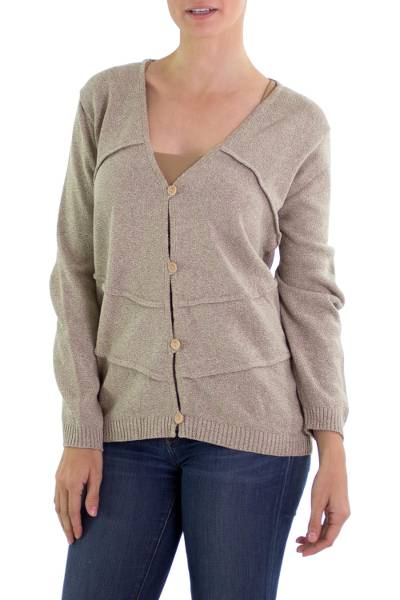Cotton cardigan, 'Casual Nature' - Khaki Green Cotton Sweater Wood Buttons from Guatemala