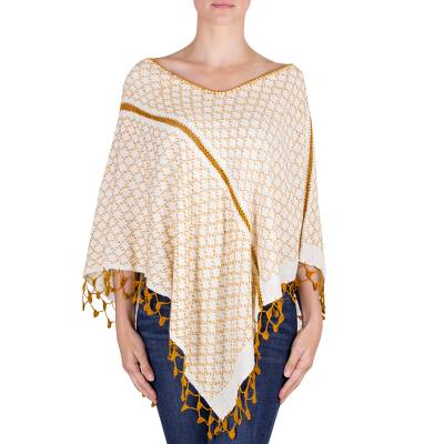 Handwoven Cotton Poncho with Crochet Trim from Guatemala