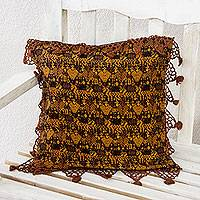 Cotton cushion cover, 'Tactic Gold' - Brown and Gold Guatemalan Hand Woven Cushion Cover