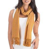 Cotton scarf, 'Yellow White Lanquin' - Hand Woven Cotton Scarf Striped Pattern from Guatemala
