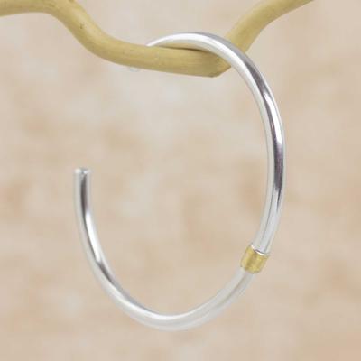 Gold accent sterling silver cuff bracelet, 'Sun and Moon' - Sterling Silver Cuff Bracelet with 21k Gold Accent