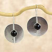 Onyx dangle earrings, 'Full Moons' - Round Hand Crafted Sterling Silver Earrings with Onyx