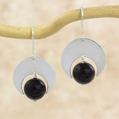 Onyx dangle earrings, 'Crescent Moons' - Sterling Silver and Onyx Earrings Fair Trade Jewelry