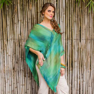 Rayon chenille poncho, 'Ethereal Turquoise' - Backstrap Loom Bamboo fibre Poncho with Fringe