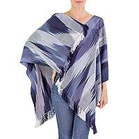 Rayon chenille poncho, 'Ethereal Navy' - Handwoven Blue Rayon Chenille Backstrap Loom Poncho