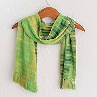 Rayon chenille scarf, 'Evergreen' - Backstrap Rayon Chenille Handmade Scarf in Shades of Green