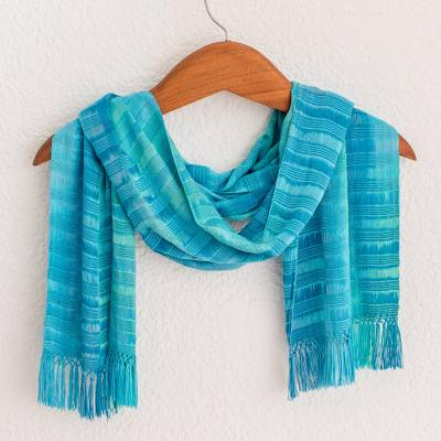 Rayon chenille scarf, 'Forever Blue' - Backstrap Loom Rayon Chenille Handmade Scarf in Blue