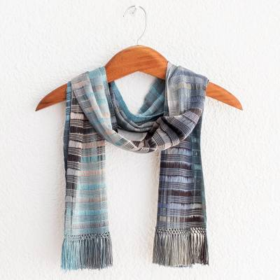 Rayon chenille scarf, 'Waves on the Lake' - Backstrap Rayon Chenille Handmade Scarf in Blue and Grey