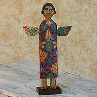 Wood statuette, 'Angel of Vitality' - Antiqued Wood Sculpture Artisan Crafted Christian Art
