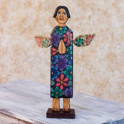 Wood sculpture, 'Angel of Night' - Artisan Crafted Pinewood Angel Sculpture from Guatemala