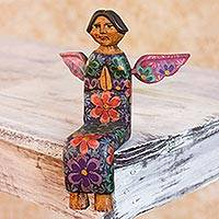 Wood sculpture, 'Angel of Purity II' - Shelf Top Artisan Crafted Pinewood Angel Sculpture Statuette