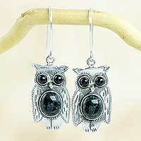 Jade dangle earrings, 'Dapper Owls'