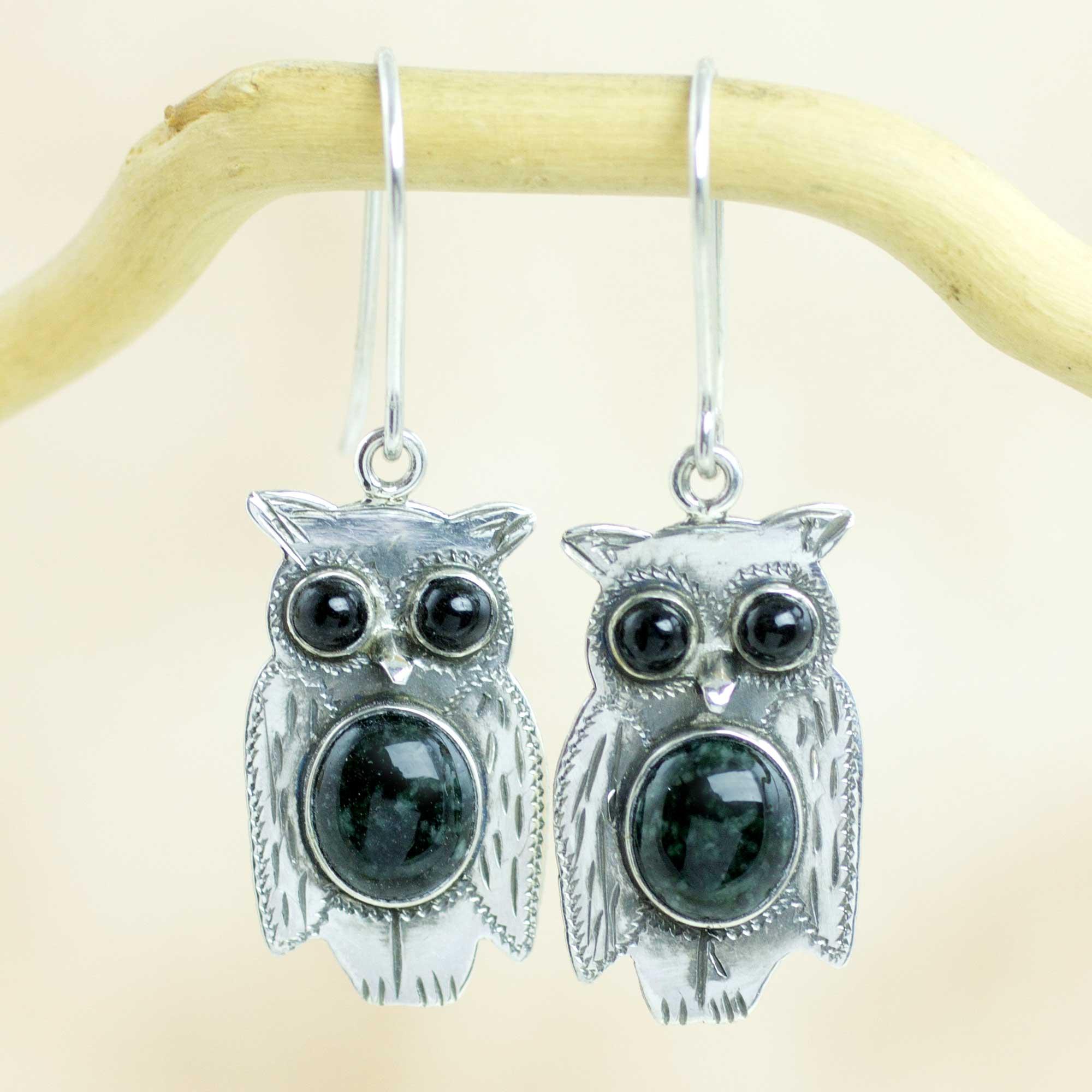 Black And Green Jade Sterling Silver Owl Earrings Der Owls