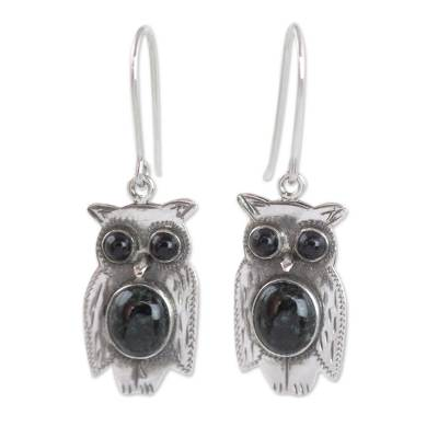 Jade dangle earrings, 'Dapper Owls' - Black and Green Jade and Sterling Silver Owl Earrings