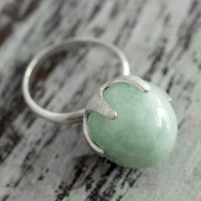 Jade single stone ring, 'Maya Royal' - Fair Trade Sterling Silver and Jade Artisan Crafted Ring