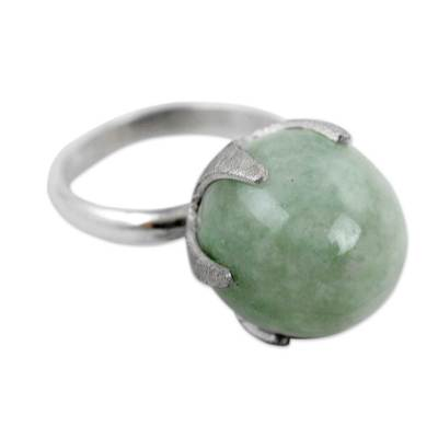 Jade single stone ring, 'Maya Royal' - Fair Trade Sterling Silver and Jade Artisan Crafted Ring