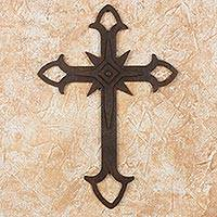 Wrought iron cross, 'Confession of Faith' - Wall Cross in Wrought Iron with Rust Colored Accents