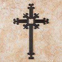 Wrought iron cross, 'Path of Life' - Black Wrought Iron Wall Cross Artisan Crafted in Guatemala