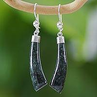 Jade dangle Earrings, 'Forest Queen K'abel' - Handcrafted Sterling Silver Earrings with Forest Green Jade