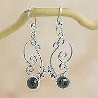Dark green jade dangle earrings, 'Sea Breeze'
