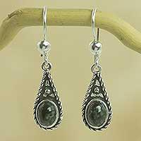 Dark green jade dangle earrings, 'Santa Catalina'