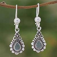 Jade dangle earrings, 'Santa Clara' - Ornate Sterling Silver Earrings with Green Maya Jade