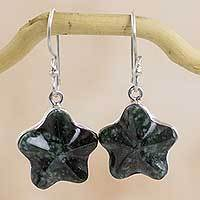 Dark green jade dangle earrings, 'Wishing Star' - Fair Trade Jewelry Artisan Crafted Dark Jade Star Earrings