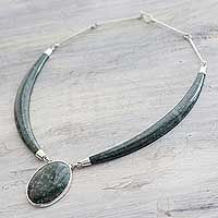 Dark green jade pendant necklace, 'Maya Elegance' - Dark Green Jade Pendant Necklace with Sterling Silver