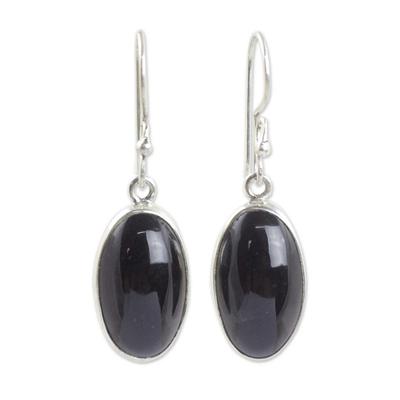 Black jade dangle earrings, 'Maya Elegance' - Guatemalan Black Jade Hook Earrings on Sterling Silver