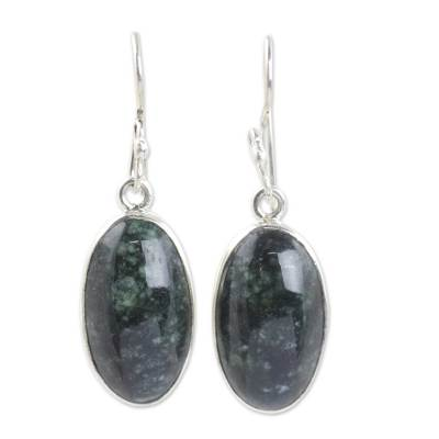 Dark green jade dangle earrings, 'Maya Elegance' - Guatemalan Dark Green Jade Sterling Silver Hook Earrings