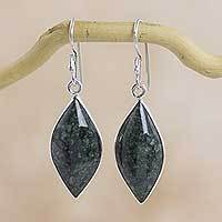 Dark green jade dangle earrings, 'Maya Shields' - Handmade Dark Green Jade Earrings with Silver Settings