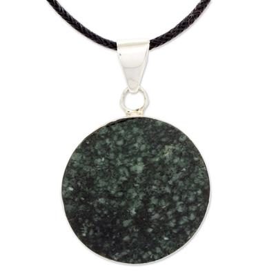 Reversible jade pendant necklace, 'Maya Moon' - Black and Green Jade Reversible Pendant Necklace