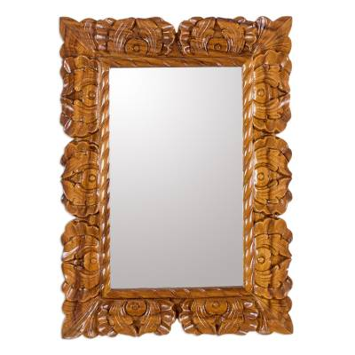 Guatemalan Hand Carved Conacaste Wood Wall Mirror