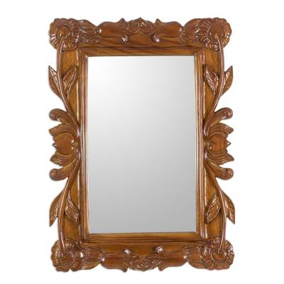 Guatemalan Hand Carved Flower and Heart Wood Wall Mirror